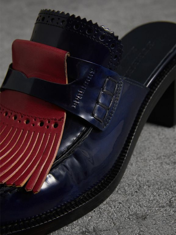 Contrast Kiltie Fringe Leather Block-heel Mules in Navy - Women | Burberry United States - cell image 1