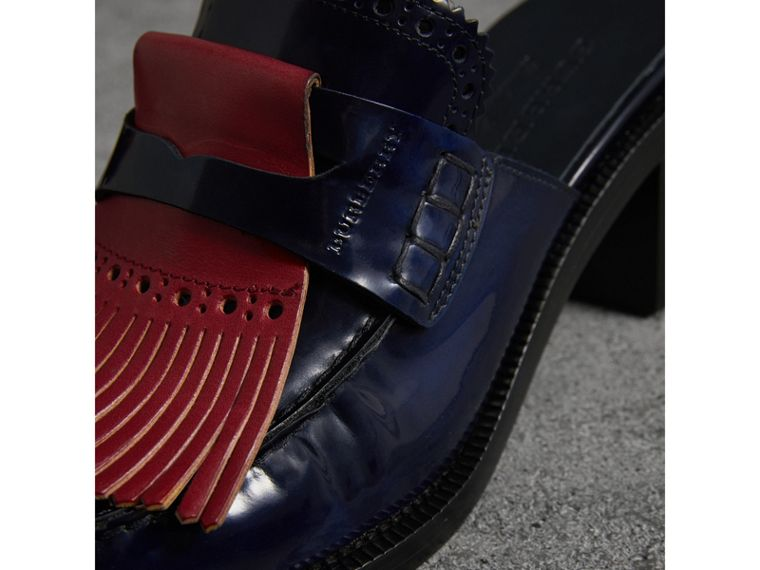 Contrast Kiltie Fringe Leather Block-heel Mules in Navy - Women | Burberry United Kingdom - cell image 1