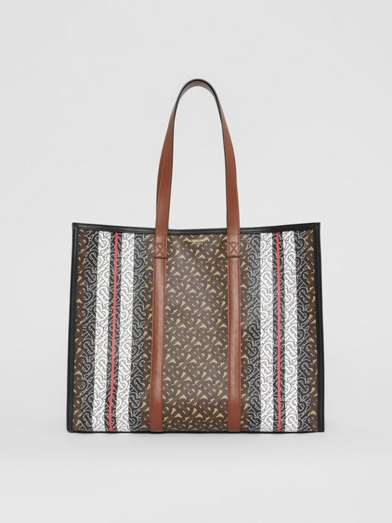 Monogram Stripe E-canvas Tote Bag in Bridle Brown