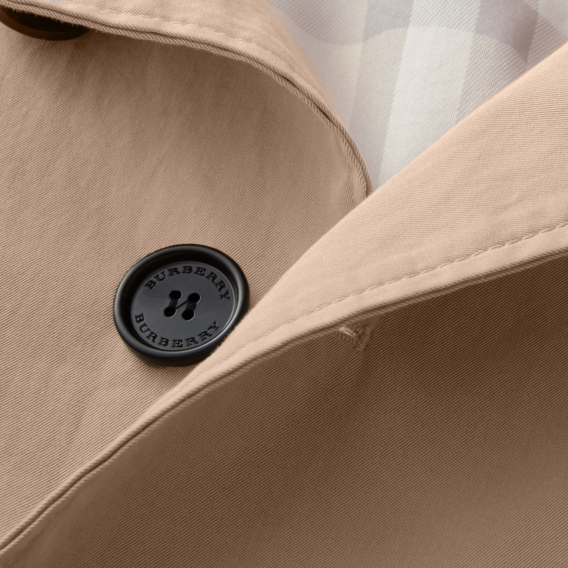 Unisex Tropical Gabardine Car Coat with Exaggerated Cuffs in Light Taupe - Women | Burberry - gallery image 2