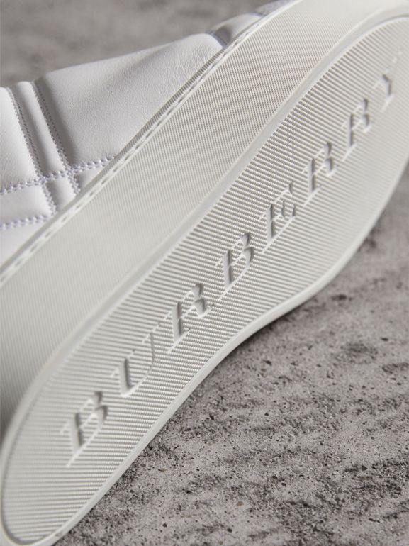 Check-quilted Leather High-top Sneakers in Optic White - Women | Burberry Singapore - cell image 1
