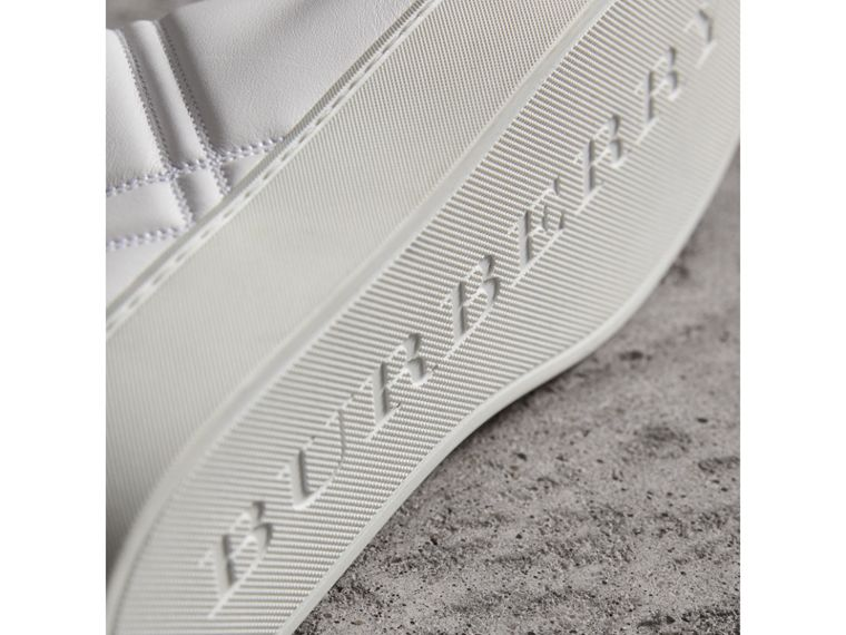 Check-quilted Leather High-top Trainers in Optic White - Women | Burberry Canada - cell image 1