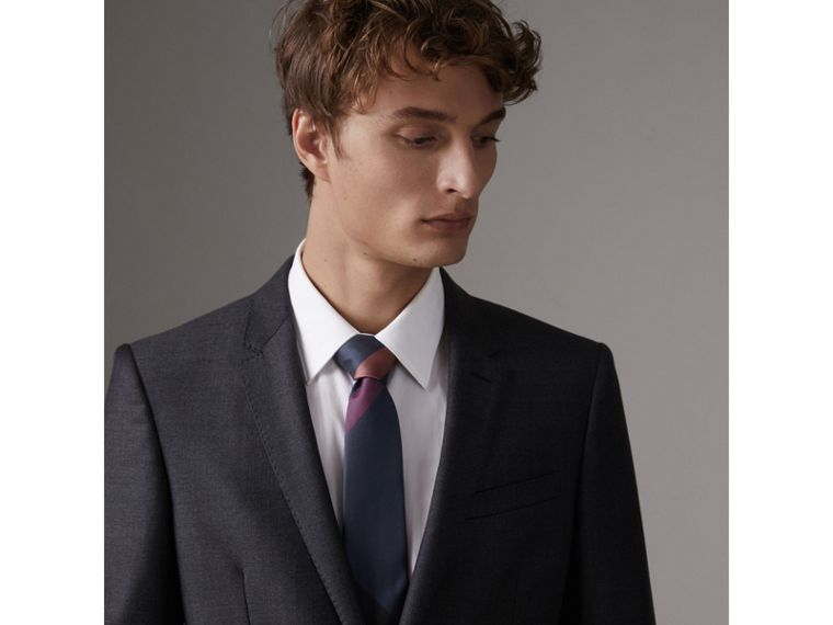 Modern Cut Check Silk Tie in Navy - Men | Burberry United Kingdom - cell image 2