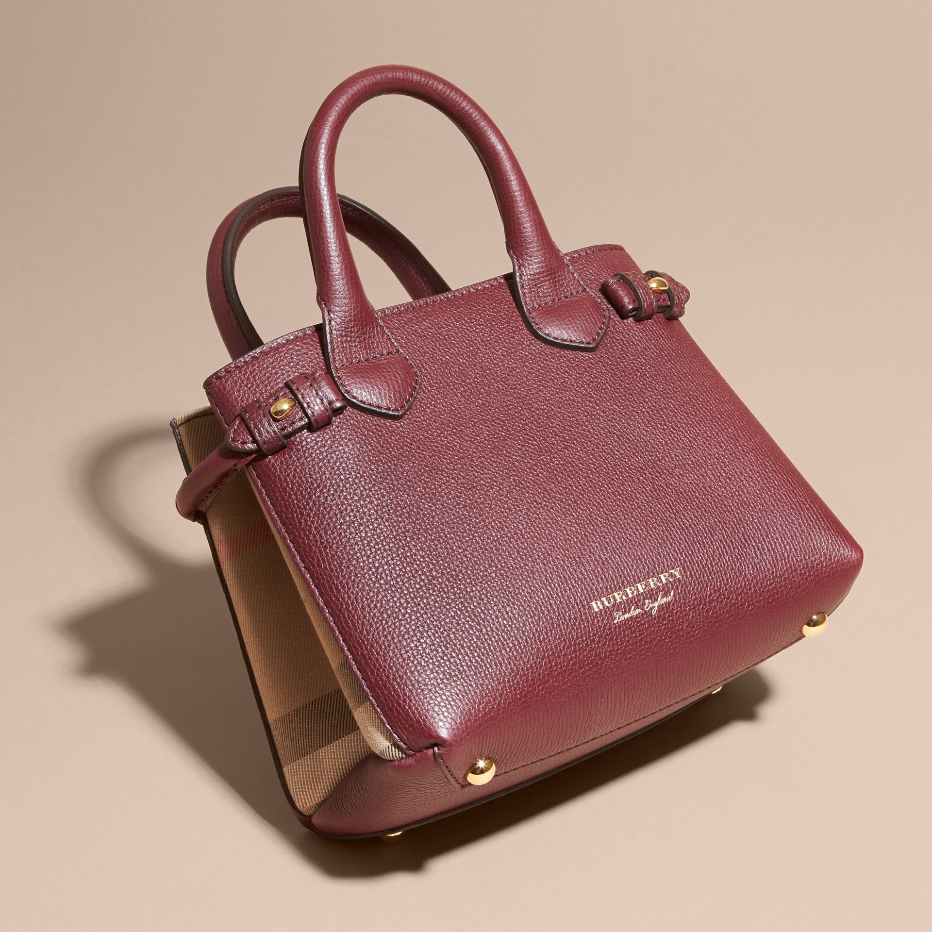 The Baby Banner in Leather and House Check in Mahogany Red - Women | Burberry - gallery image 8