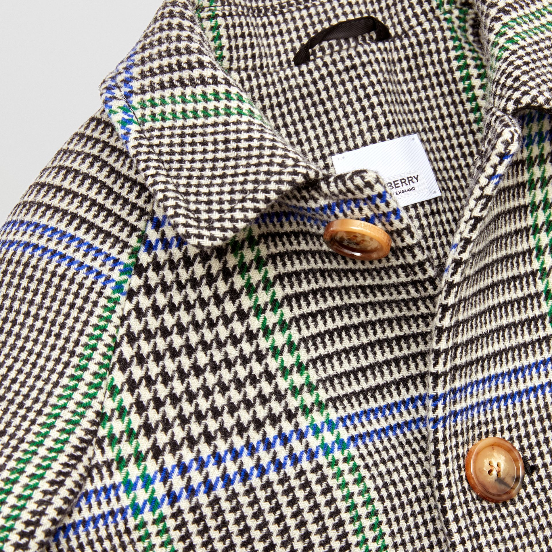 Houndstooth Check Wool Blend Car Coat in Clover Green | Burberry Hong Kong S.A.R - gallery image 1