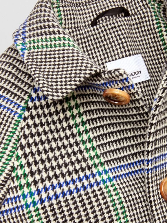Houndstooth Check Wool Blend Car Coat in Clover Green | Burberry Hong Kong S.A.R - cell image 1