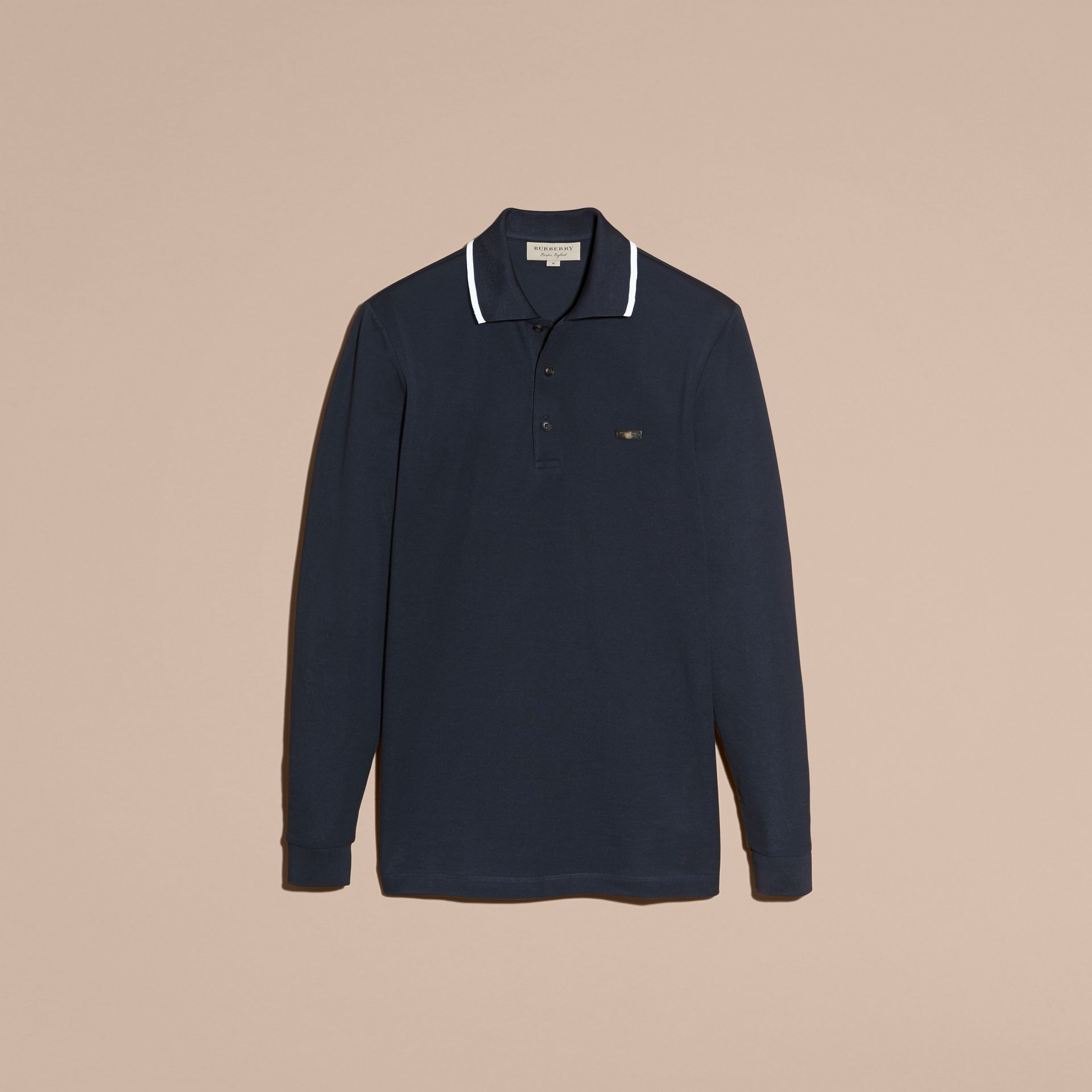 Long-sleeved Tipped Cotton Piqué Polo Shirt Navy - gallery image 4