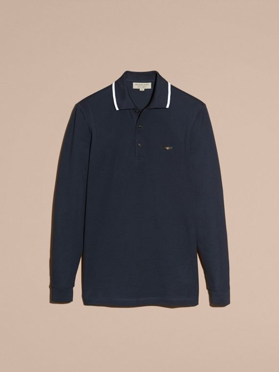 Navy Long-sleeved Tipped Cotton Piqué Polo Shirt Navy - cell image 3