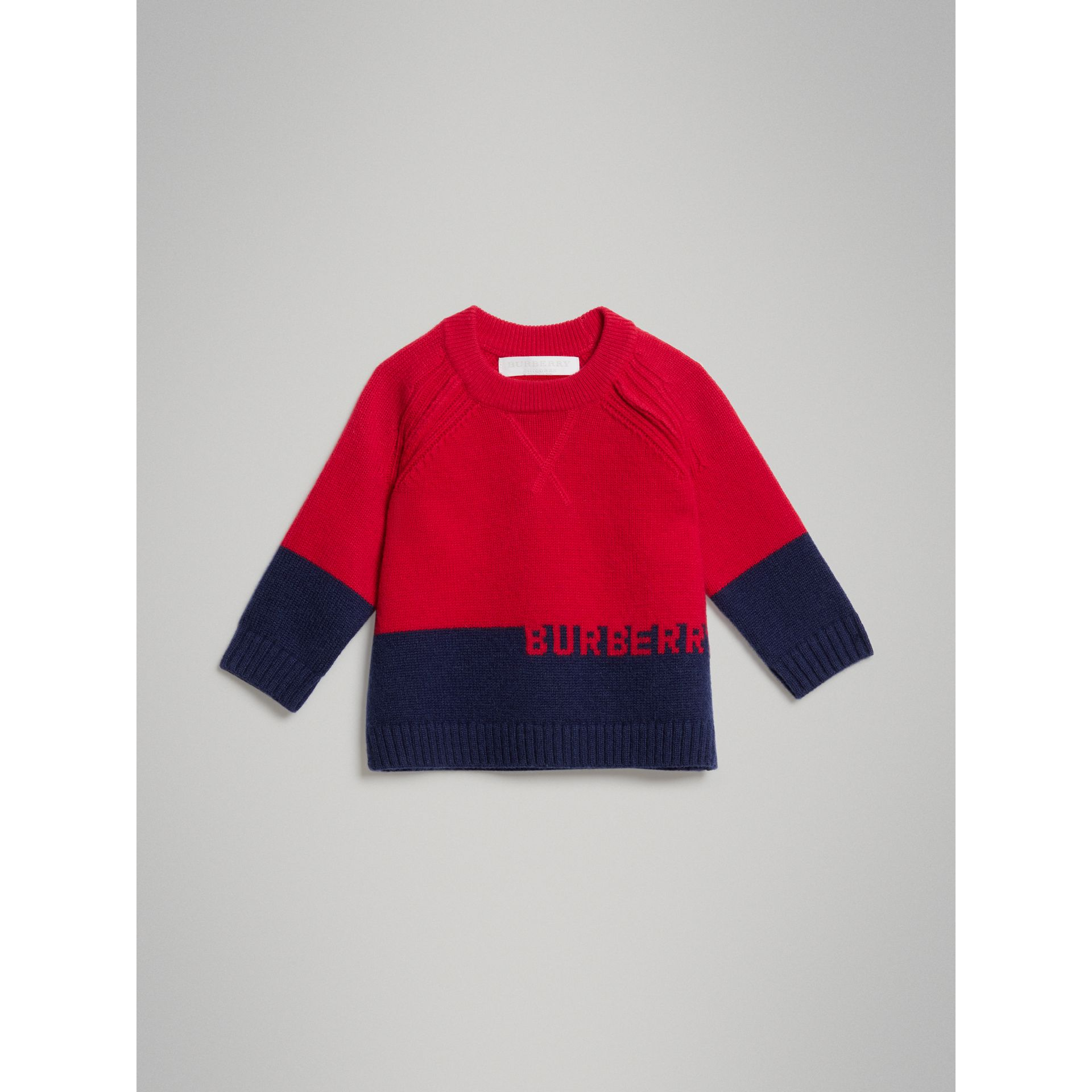 Logo Intarsia Cashmere Sweater in Bright Red - Children | Burberry United Kingdom - gallery image 0