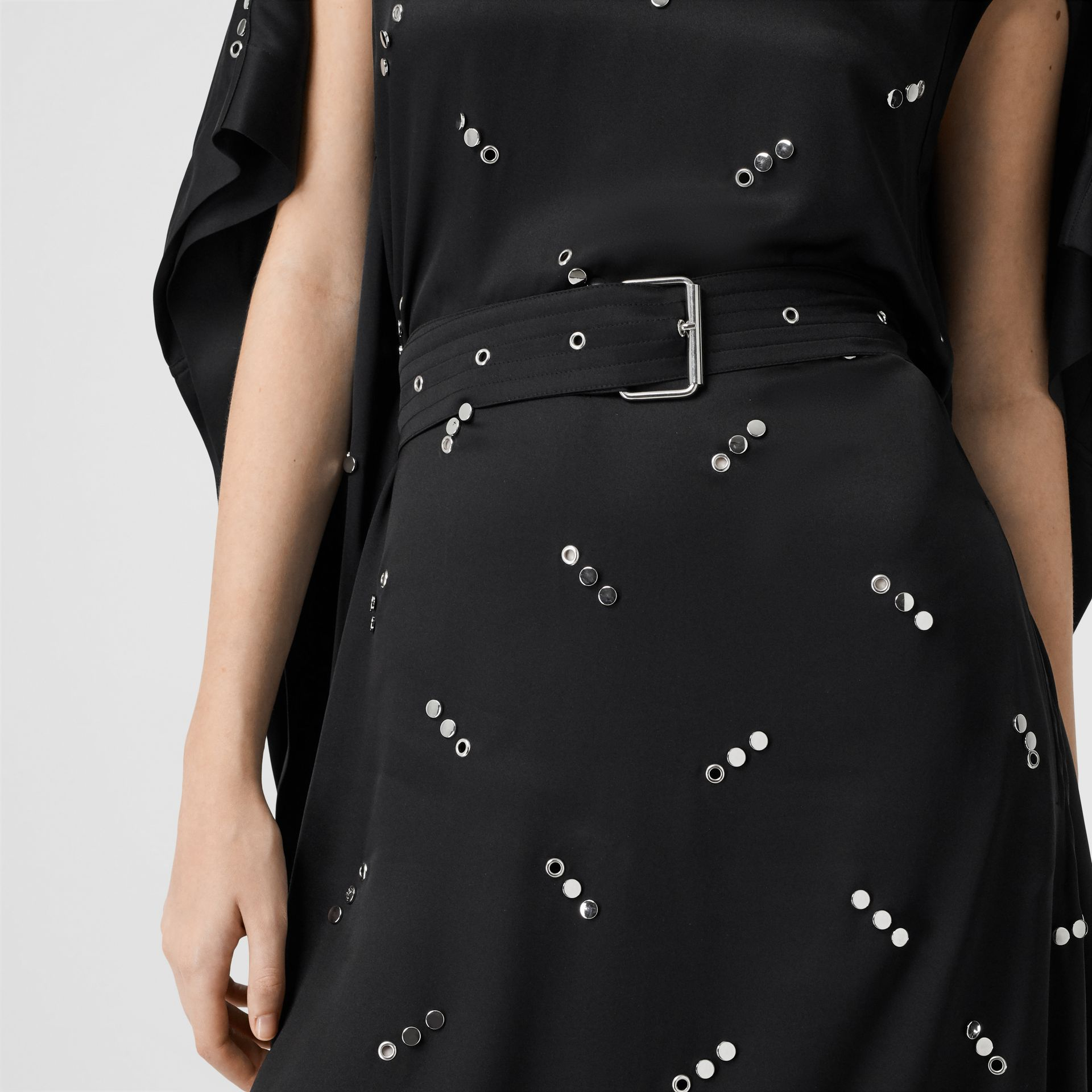 Cut-out Sleeve Embellished Silk Satin Dress in Black - Women | Burberry United States - gallery image 4