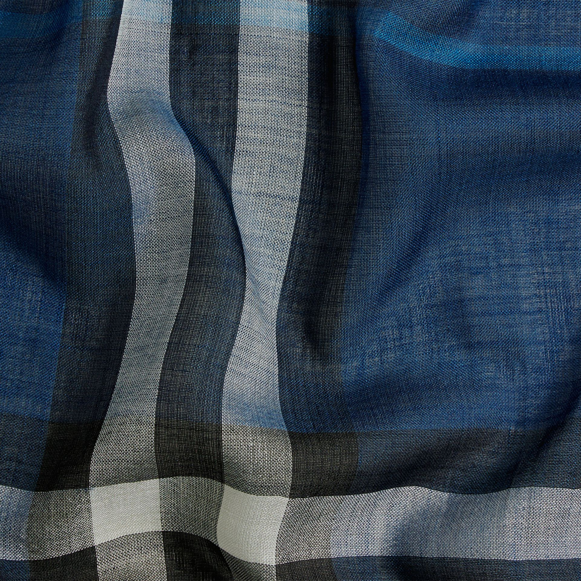 Marine blue Lightweight Check Wool and Silk Scarf Marine Blue - gallery image 2