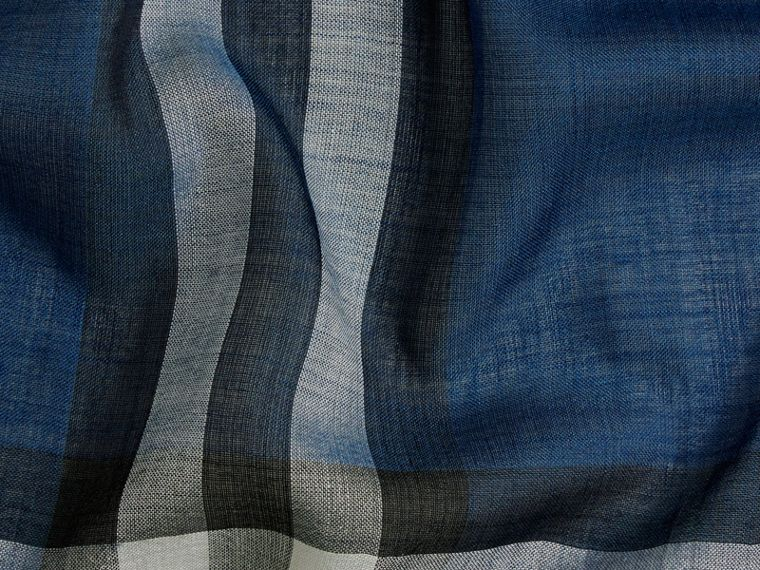 Marine blue Lightweight Check Wool and Silk Scarf Marine Blue - cell image 1