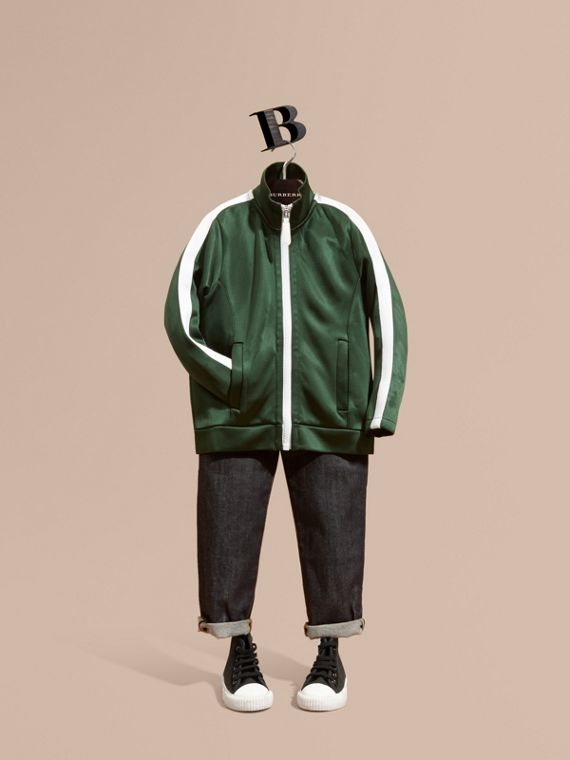 High-shine Technical Track Jacket Deep Green