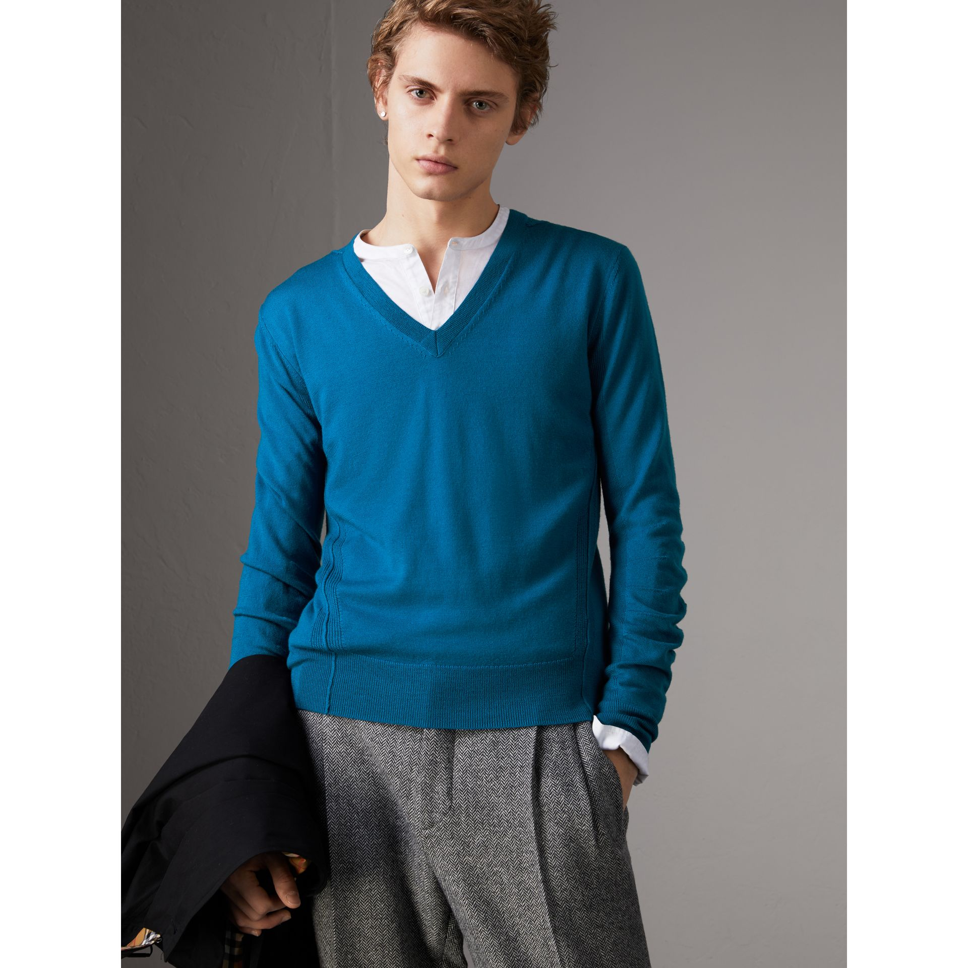 Check Detail Merino Wool V-neck Sweater in Mineral Blue - Men | Burberry Canada - gallery image 0