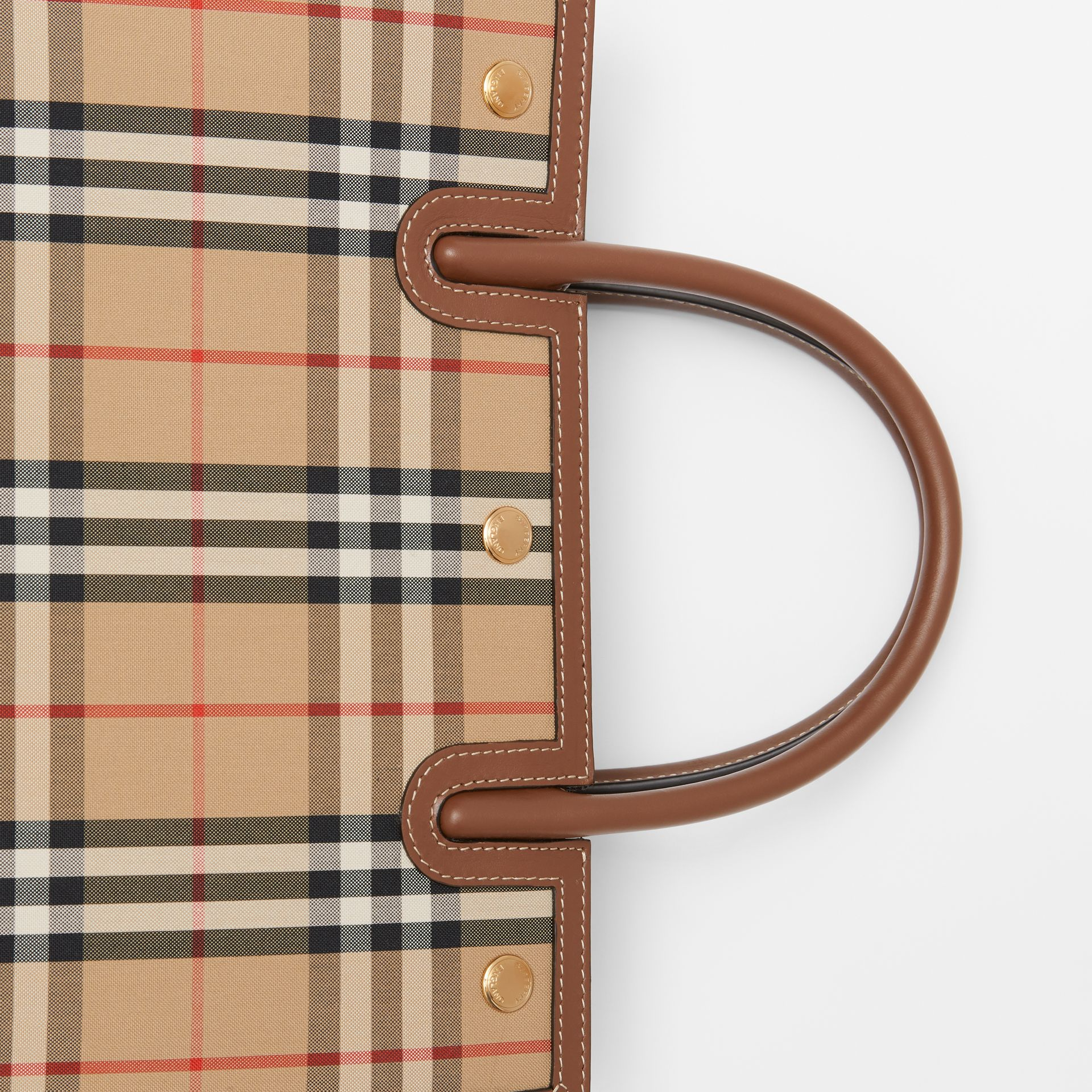Small Vintage Check Two-handle Title Bag in Archive Beige - Women | Burberry - gallery image 8