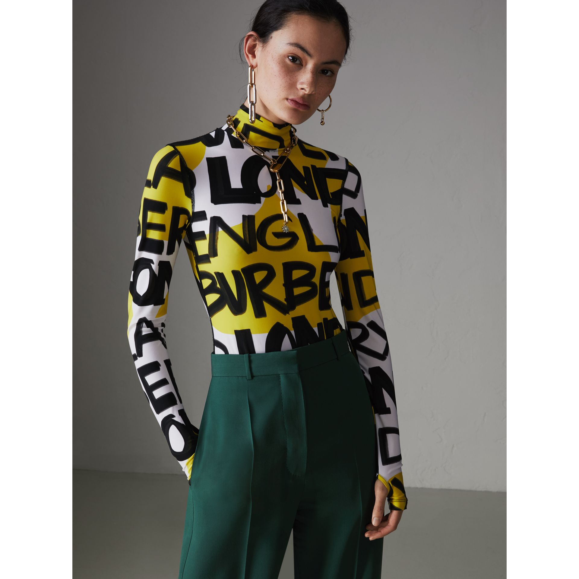 Graffiti Print Stretch Jersey Bodysuit in Bright Yellow - Women | Burberry Singapore - gallery image 4