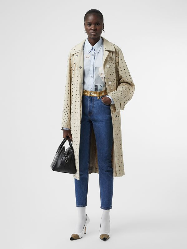 Skinny Fit Deer Print Trim Japanese Denim Jeans in Mid Blue - Women | Burberry United Kingdom - cell image 3
