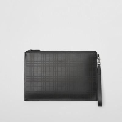 Homme Check noir Cuir Zippée Motif Pochette Burberry À Perforé En O8PXqa
