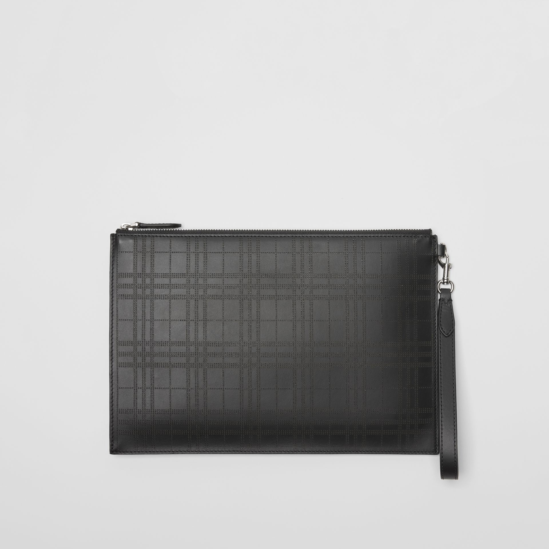 Perforated Check Leather Zip Pouch in Black - Men | Burberry - gallery image 0