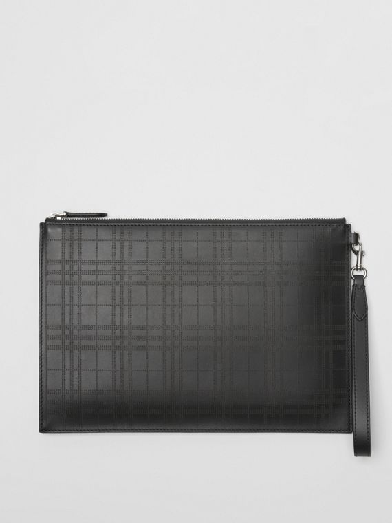 Perforated Check Leather Zip Pouch in Black
