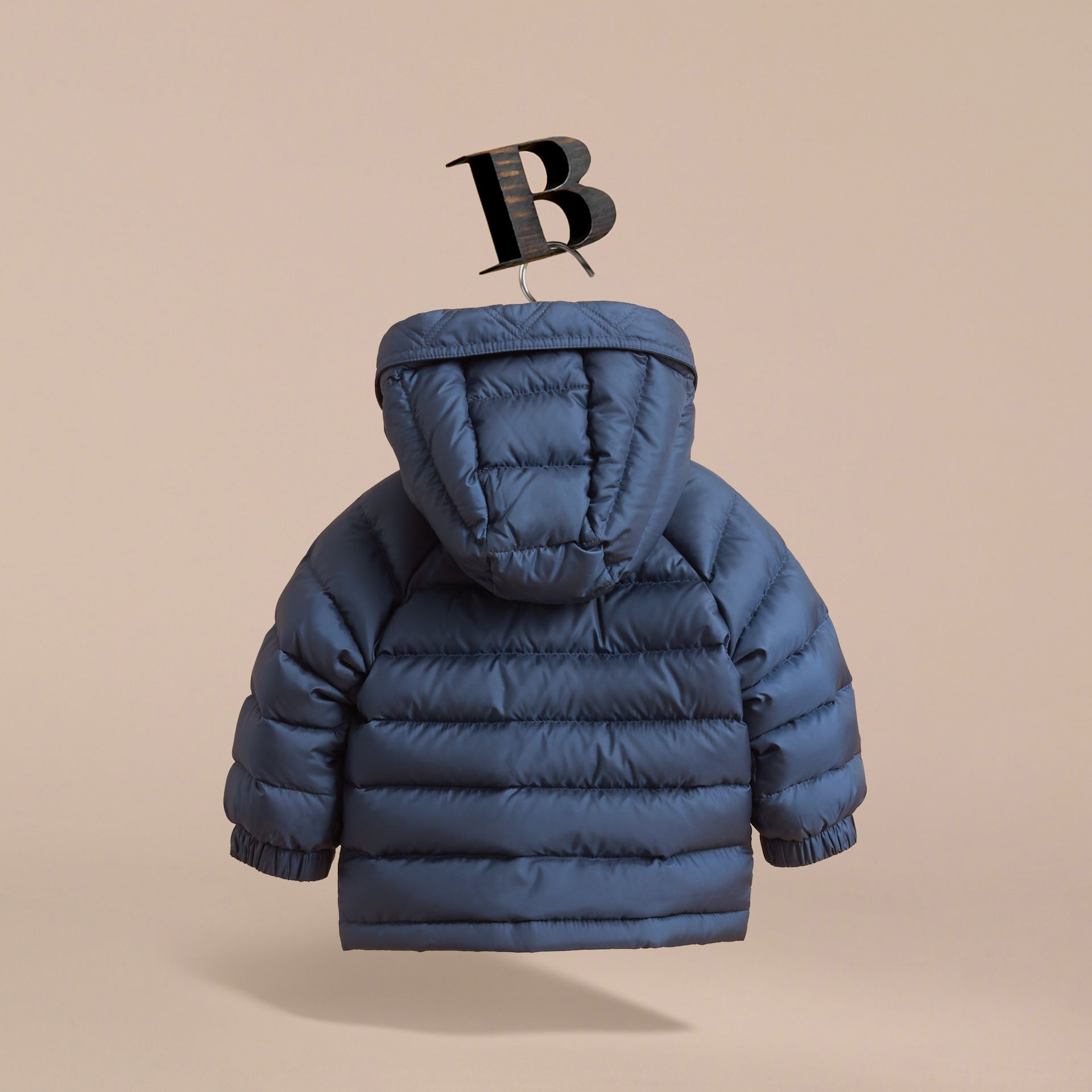Shower-resistant Hooded Puffer Jacket in Ink Blue | Burberry - gallery image 4