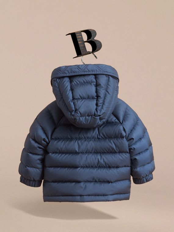 Shower-resistant Hooded Puffer Jacket in Ink Blue | Burberry Australia - cell image 3