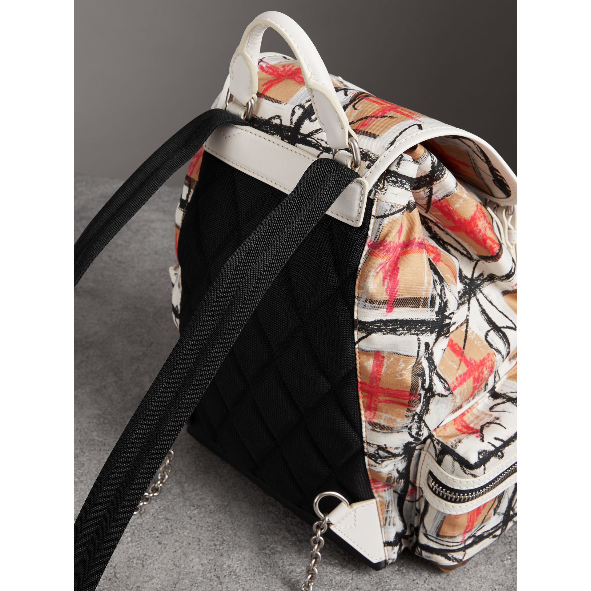 The Medium Rucksack in Scribble Vintage Check in Chalk White - Women | Burberry United Kingdom - gallery image 2