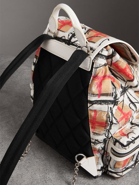 The Medium Rucksack in Scribble Vintage Check in Chalk White - Women | Burberry United Kingdom - cell image 2