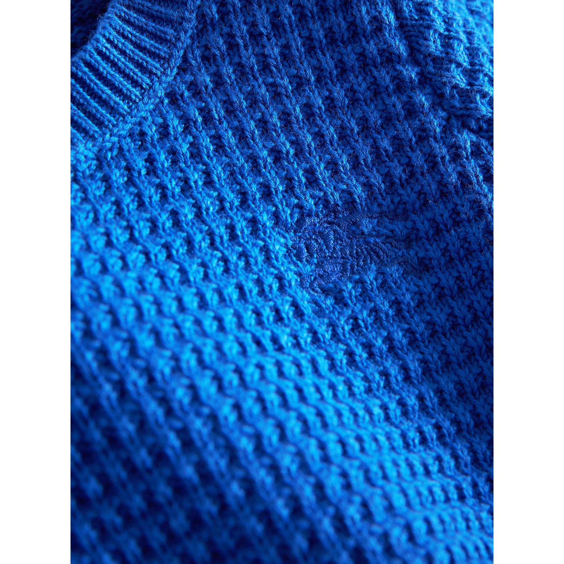 Waffle Knit Cotton Sweater in Cobalt Blue | Burberry Singapore - gallery image 1