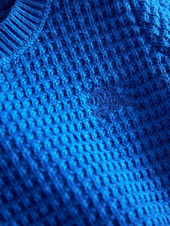 Waffle Knit Cotton Sweater in Cobalt Blue   Burberry - cell image 1