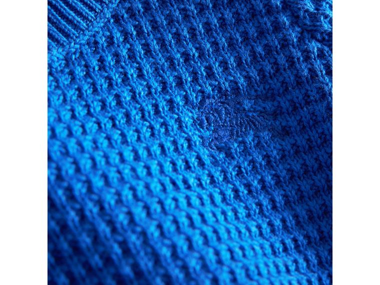 Waffle Knit Cotton Sweater in Cobalt Blue | Burberry - cell image 1