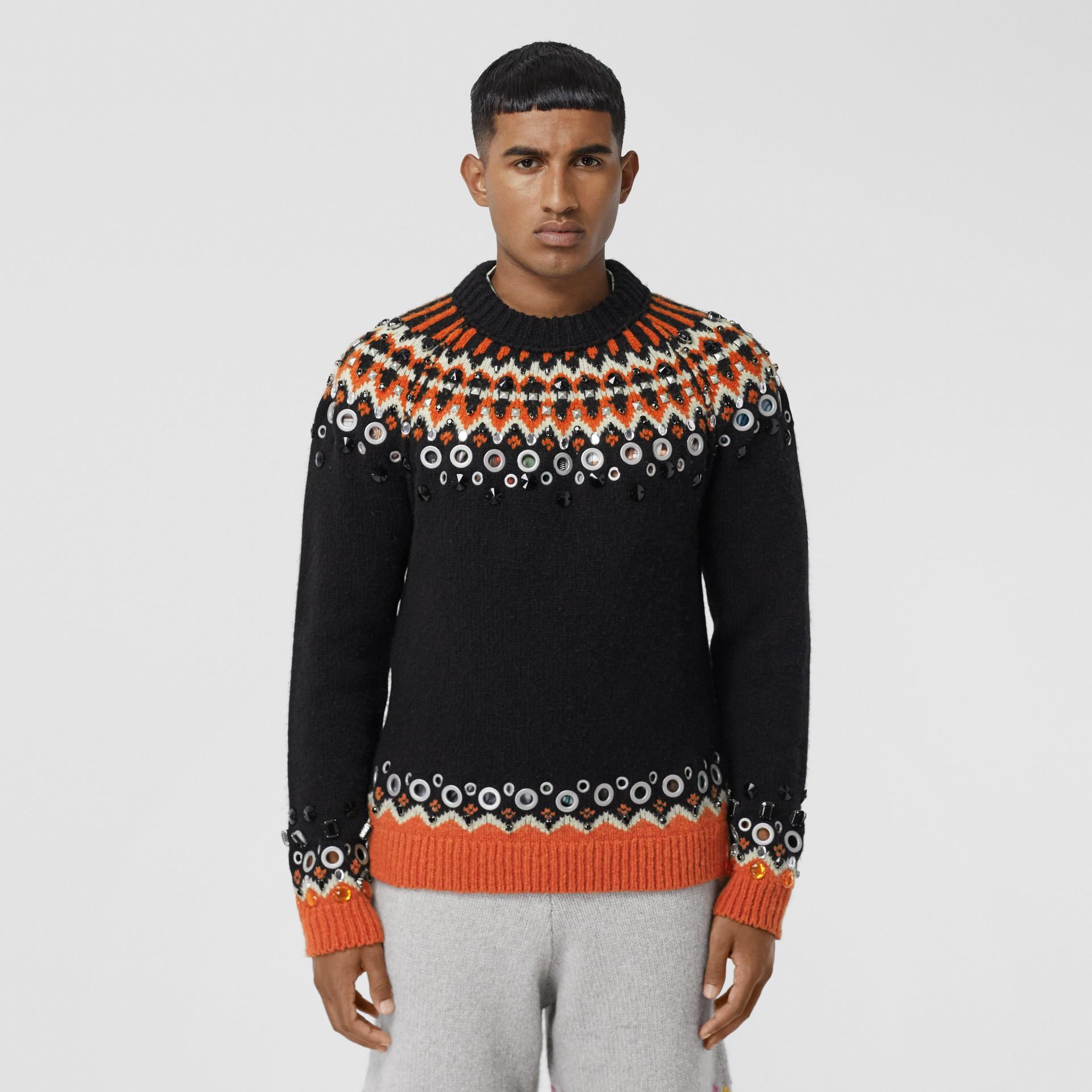 Embellished Fair Isle Wool Sweater in Black - Men | Burberry - gallery image 5