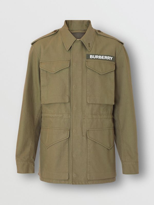 Logo Detail Cotton Field Jacket in Olive - Men | Burberry - cell image 3