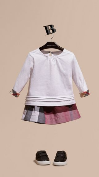 Long-sleeved Check Trim Cotton T-shirt