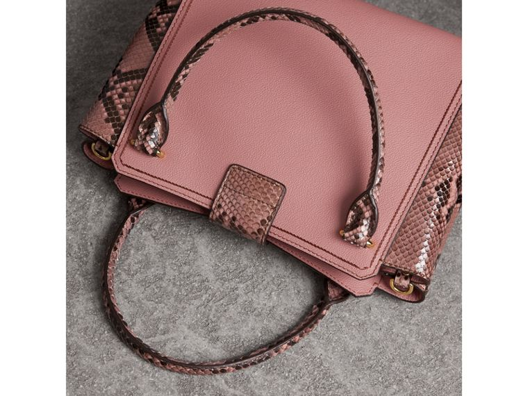The Medium Buckle Tote in Grainy Leather and Python in Dusty Pink - Women | Burberry - cell image 4