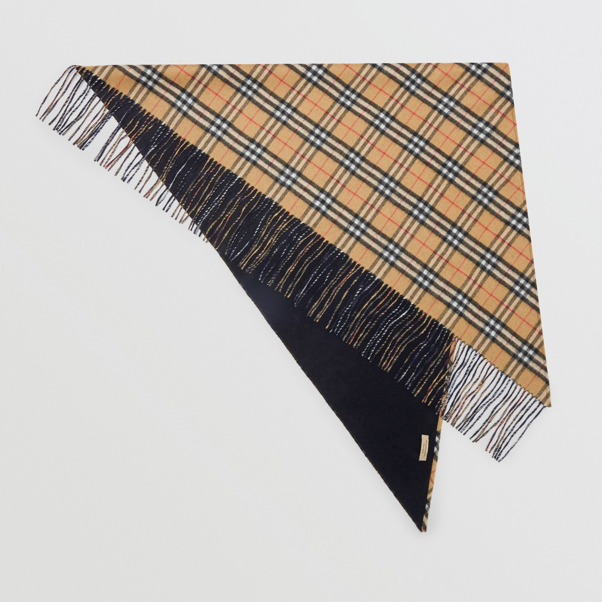 The Burberry Bandana in Vintage Check Cashmere in Blue Carbon | Burberry Australia - gallery image 6
