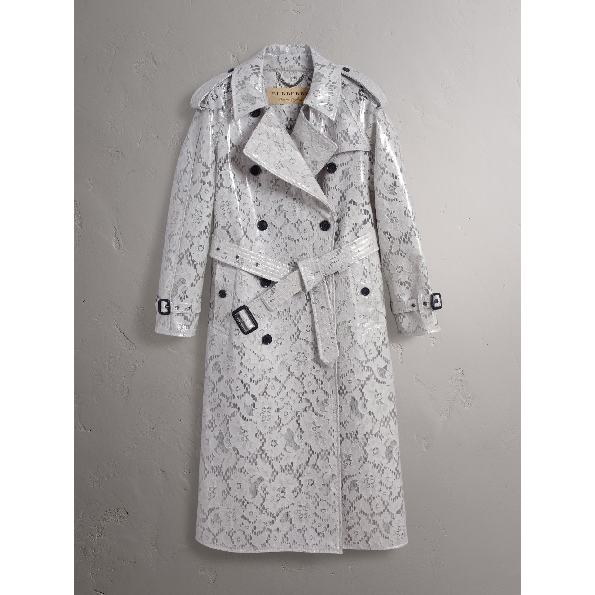 Laminated Lace Trench Coat in Pale Grey - Women | Burberry United Kingdom - gallery image 3