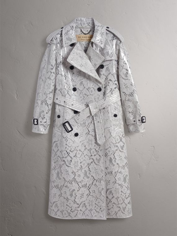 Laminated Lace Trench Coat in Pale Grey - Women | Burberry - cell image 3