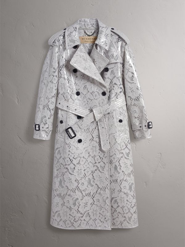 Laminated Lace Trench Coat in Pale Grey - Women | Burberry United Kingdom - cell image 3