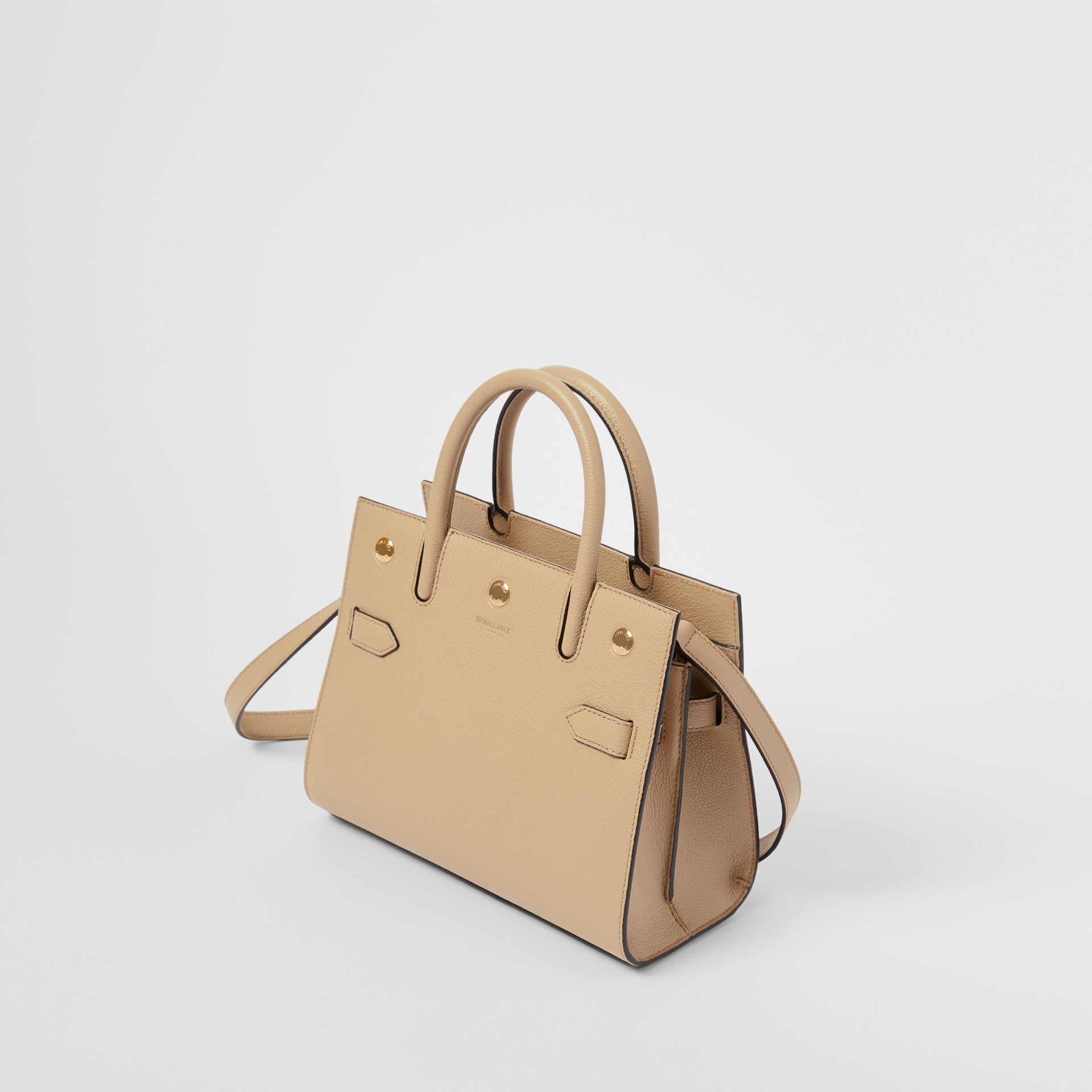 Mini Leather Two-handle Title Bag in Light Beige - Women | Burberry - gallery image 3