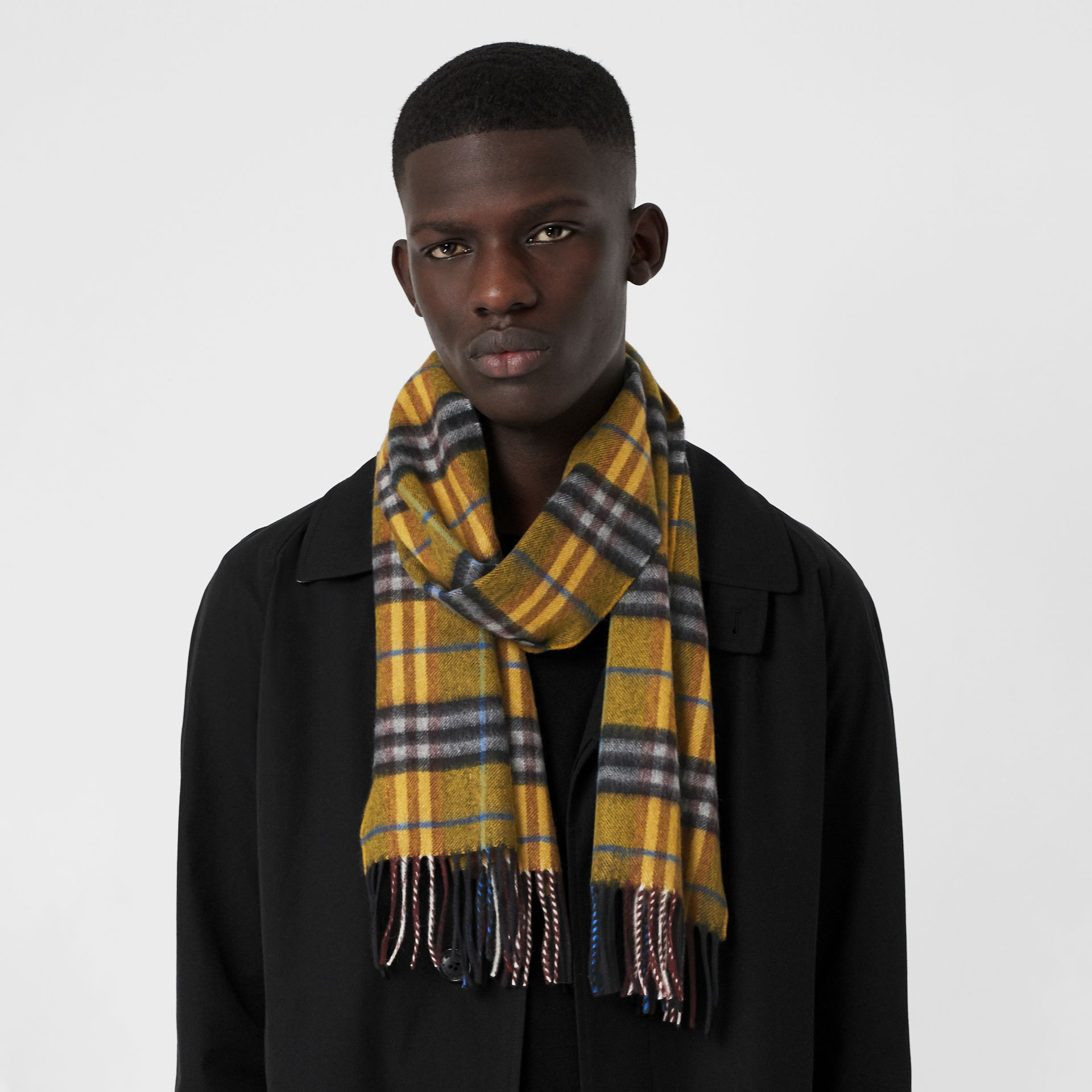Check Cashmere Scarf in Amber Yellow | Burberry United Kingdom - gallery image 5