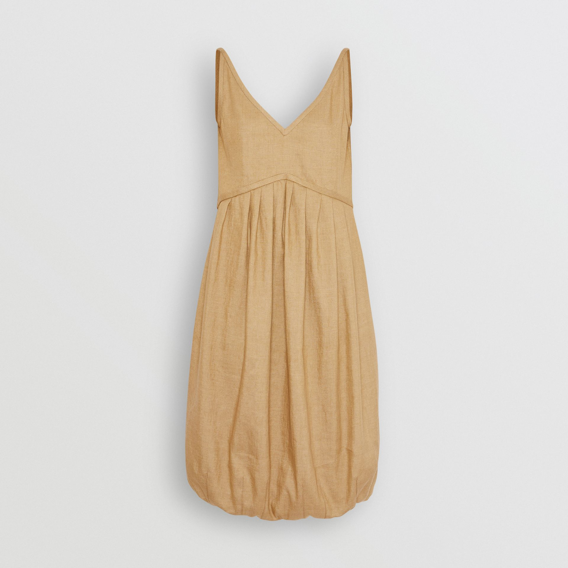 Linen Blend Bubble Hem Dress in Honey - Women | Burberry - gallery image 3