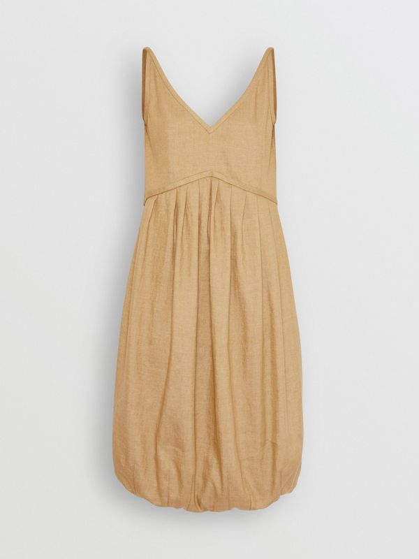 Linen Blend Bubble Hem Dress in Honey - Women | Burberry - cell image 3