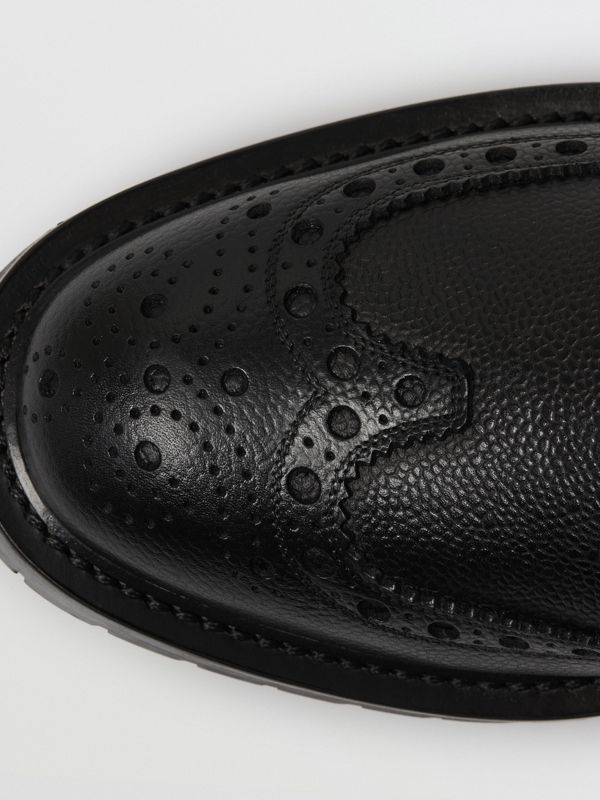 Brogue Detail Grainy Leather Derby Shoes in Black - Men | Burberry - cell image 2