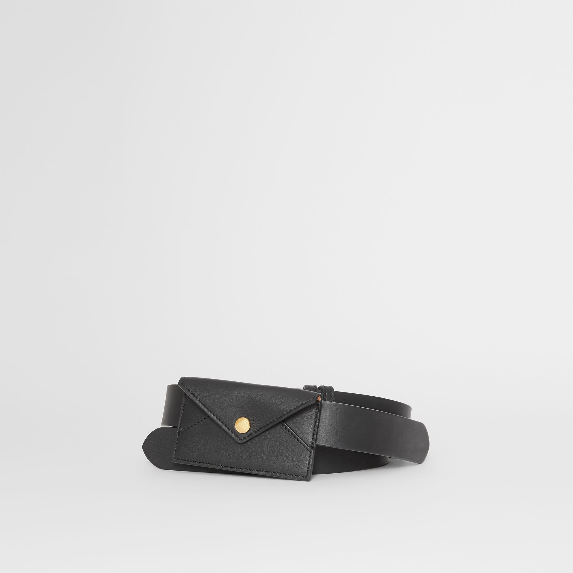 Envelope Detail Leather Belt in Black - Women | Burberry - gallery image 0