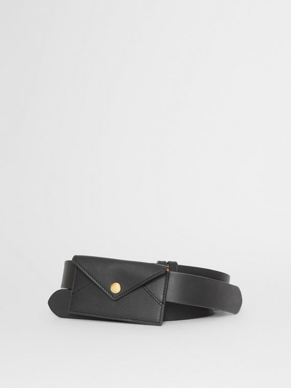 Envelope Detail Leather Belt in Black