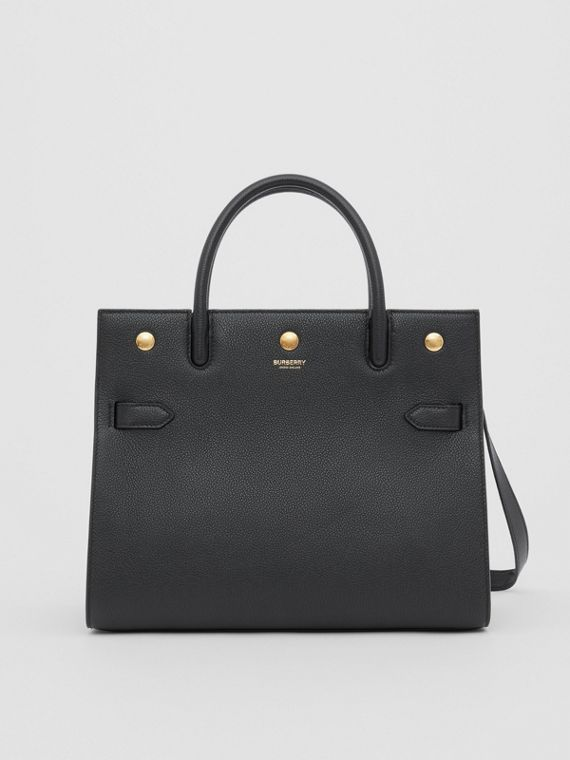 Small Leather Two-handle Title Bag in Black