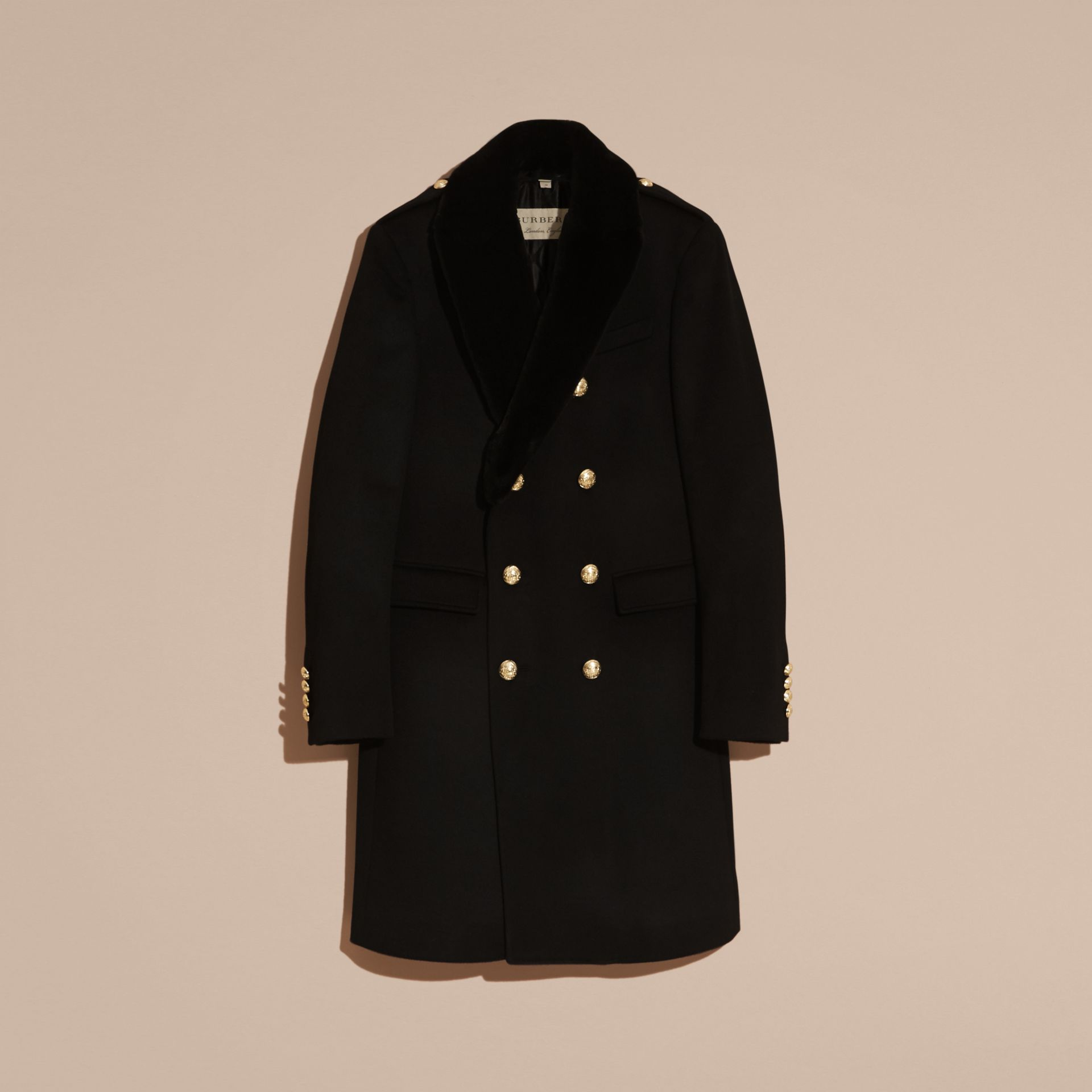 Black Regimental Cashmere Coat with Detachable Mink Collar - gallery image 4