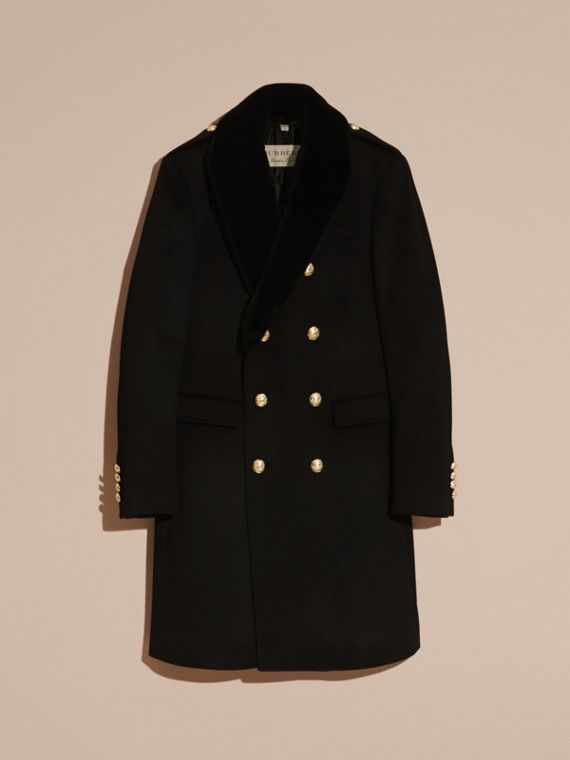 Black Regimental Cashmere Coat with Detachable Mink Collar - cell image 3