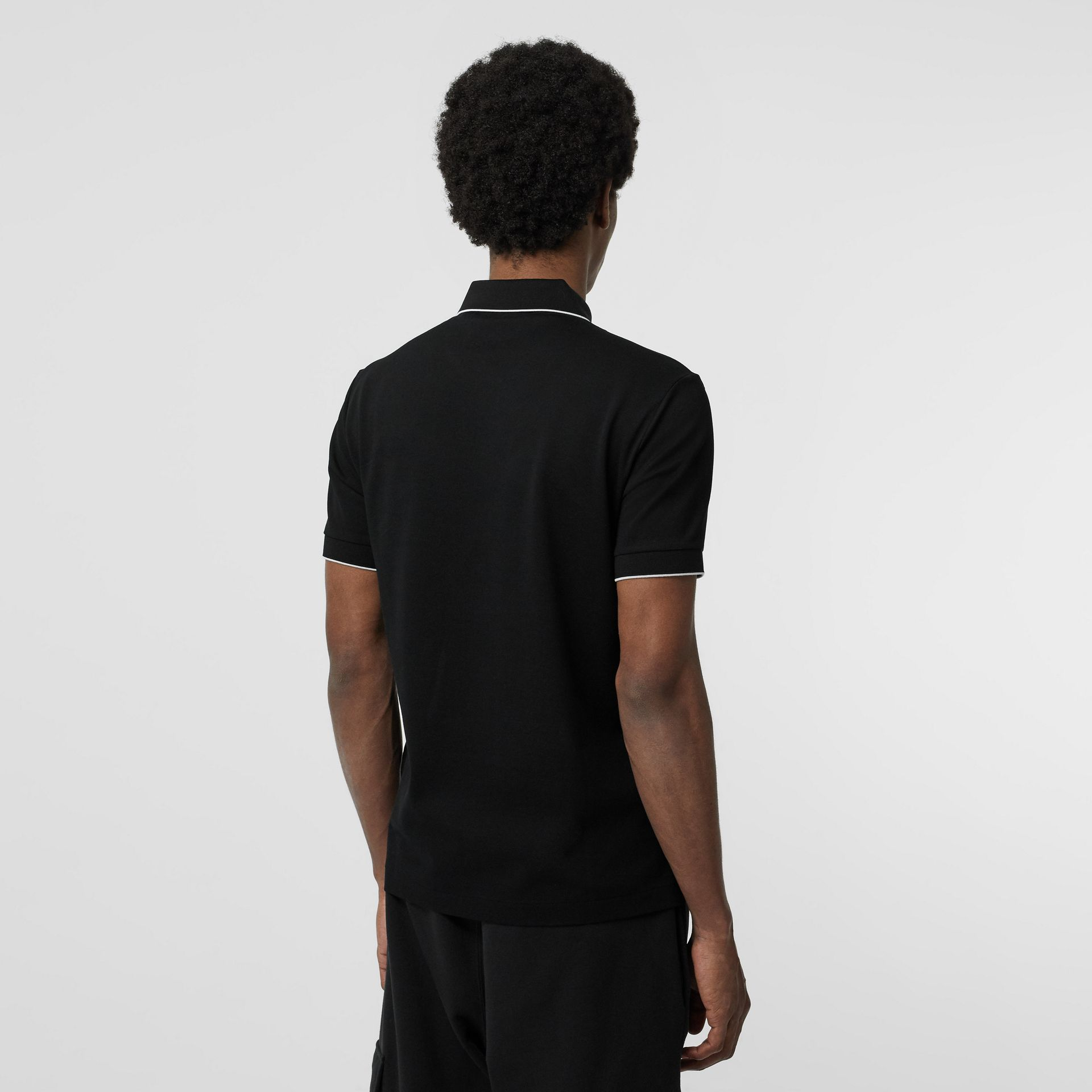 Tipped Cotton Piqué Polo Shirt in Black - Men | Burberry - gallery image 2